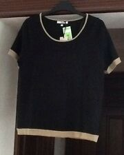 M&S Ladies Classic Round Neck Short Slv Black/Taupe Wool Mix Jumper Size 12 BNWT