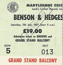 Yorkshire v Northamptonshire 1987 Benson & Hedges Cup Final Cricket Ticket