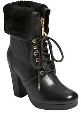 HUNTER CHANDLER ANKLE BOOTS WITH SHEARLING CUFF HIGH HEELS SIZE 9 BLACK LEATHER