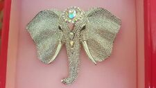 Genuine Butler & Wilson Clear Crystal Large Elephant Head Brooch 45 Anniversary