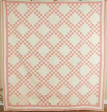 Vintage 20's Chambray Pink Irish Chain Antique Quilt ~AMAZING HAND QUILTING!