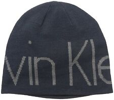 Calvin Klein CK Men's Super Logo Embroidered Reversible Beanie Navy