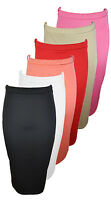 NEW LADIES PLAIN OFFICE WOMEN STRETCH BODYCON MIDI PENCIL SKIRT SIZE 8-14 UK