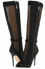 L.A.M.B. Sparrow Black Suede Leather Mesh-Panel Boot, Size 6 - $475.00