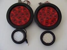 "2-4"" RED Stop Turn & Tail lights with 2-2"" 9 LED Backup Lights Jeep CJ TJ"