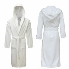 Ladies Mens Womens 100% Cotton Hooded Bath Robe Terry Towelling Dressing Gown