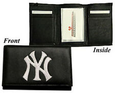 New York Yankees Leather Tri-Fold Wallet [NEW] Black Trifold Billfold MLB CDG