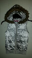 Adorable Girls I HEART ENERGIE Sz M Vest with Hood Shiny Silver Gray/Brown Trim
