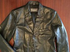New Ben Sherman Designer Luxury Cowhide Leather Jacket Blazer Men's Black S / M