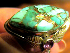 Silver RING 7 BLUE TURQUOISE long bold elegant sterling 925  INDIAN AMETHYST