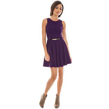 CITY GODDESS UK SIZE 8 WOMEN'S PURPLE BELTED PONTE SKATER DRESS