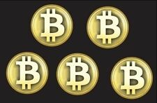 Bitcoin BTC gold 5 pack stickers decal FREE SHIP