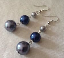 Glass Pearl Dangle Earrings Metallic Blue Vintage Up-cycled 50s Beads Recycled