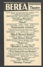 1945 PC BEREA THEATRE OH SENTIMENTAL JOURNEY M OHARA & J PAYNE SEE INFO