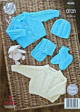 Baby KNITTING PATTERN Babies Cable Jumper Cardigan Bootees Scarf & Hat Aran 4646