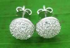 Real 925 sterling silver Cz Microsetting HALF BALL 8mm studs Earring MEN WOMEN