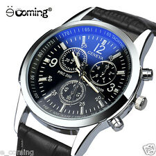 GENEVA Men Quartz Watch Faux Leather Analog Wristwatch Casual Relogio Masculino