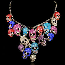 Lots Skull Drop Necklace Multi Austrian Crystal Gold GP High Quality Halloween