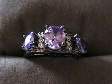 WOW!! 3 STONE AMETHYST RING WITH WHITE TOPAZ ACCENTS IN TUNGSTEN Black SETTING 7