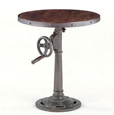 "Set of two 24"" round hand crank table industrial design vintage finish iron cool"