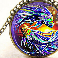 New Fantasy Mystical Gold Fish, Necklace Pendant, Colorful Swimming Goldfish