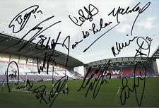 WIGAN ATHLETIC FC 2014/15 SQUAD SIGNED X 15 DW STADIUM PHOTO 1.