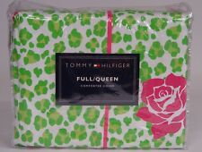 NEW Tommy Hilfiger leopard Rose Full / Queen Duvet Cover - Green / Pink