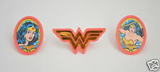 12 DC Comic Wonder Woman Cup Cake Rings Topper Party Goody Loot Bag Favor Supply