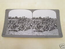WW1 STEREOVIEW - LEICESTER BATTALION RESTING BEFORE GOING TO THE TRENCHES