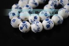 10/100pcs 12mm Flowers Pattern Ceramic Porcelain Loose Spacer Colorized Beads