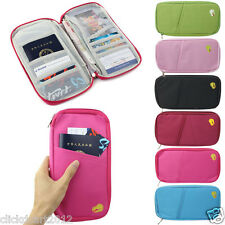 Passport ID Credit Card Holder Organizer Travel Wallet Purse Pouch Bag-Fusha Pin