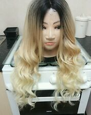 100% Human Hair Blend wig, ombré, Blonde, Long, dark roots