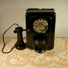 Vtg Western Electric Wall Kitchen Phone,#653-E,1930's,Bakelite Horn,Tilt,V.G.C!!