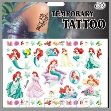 1x The Little Mermaid Temporary Tattoo Sheet Kids Birthday Party Bag Filler