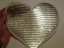 large silver heart patches sequin applique patch motif iron on sew on UK