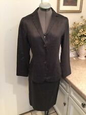 JIL SANDER Gorgeous 2pc Silk Blend Skirt and Jacket Suit Gray  size 40 or US 6