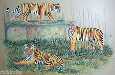 Bengal Tiger  n Animal Wild Life Miniature Painting Art Handmade Forest_AR156