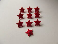 10 X Estrella Roja En Forma De Botones tamaño aproximado de 15 mm de punto a punto ~ craft/fashion