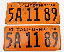1934 California DMV Clear License Plates 5A1189 PAIR