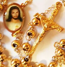 Rosary Cross Necklace Prayer Beads 18K Gold-filled with Jesus Vintage Antique