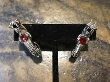 Stunning Natural Red Garnet DRAGON Earrings In Carved Sterling Silver