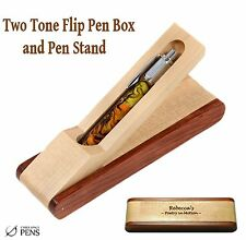 Custom Engraved Two - Toned Pen Box and Stand