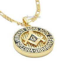 "MENS FREEMASON MASONIC SIGN PENDANT W 5mm 24"" BRASS FIGARO CHAIN NECKLACE K437G"