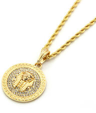 "Mens Medallion Pharaoh Gold Clear 24"" Rope Chain Pendant Necklace"