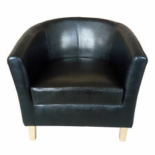 BLACK Faux Leather Tub Chair Armchair Dining Room Modern Office Furniture 7025