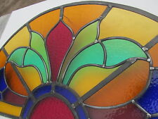 ORIGINAL 1920s ARCHED STAINED GLASS WINDOW PANEL Overdoor Transom Fanlight 34""