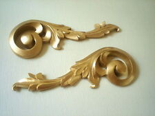 MIRROR FRAME OR PICTURE FRAME ONE PAIR ORNATE SCROLL MOULDINGS ANTIQUE GOLD