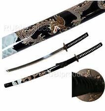 "40"" Katana Sword Black/Gold DRAGON Art Carbon Steel Collectibl​e Samurai Ninja"