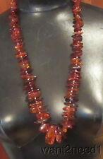 "vtg huge genuine BALTIC AMBER NECKLACE clear cherry cognac 30"" strand 95g"