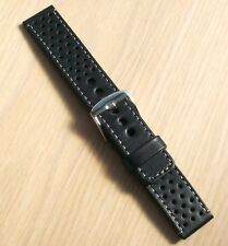 Black leather watch strong band perforated, full grain, 20mm,L gray,EU handmade